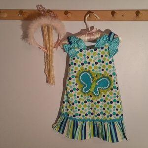 Youngland Size 3T Butterfly Polka Dot Dress